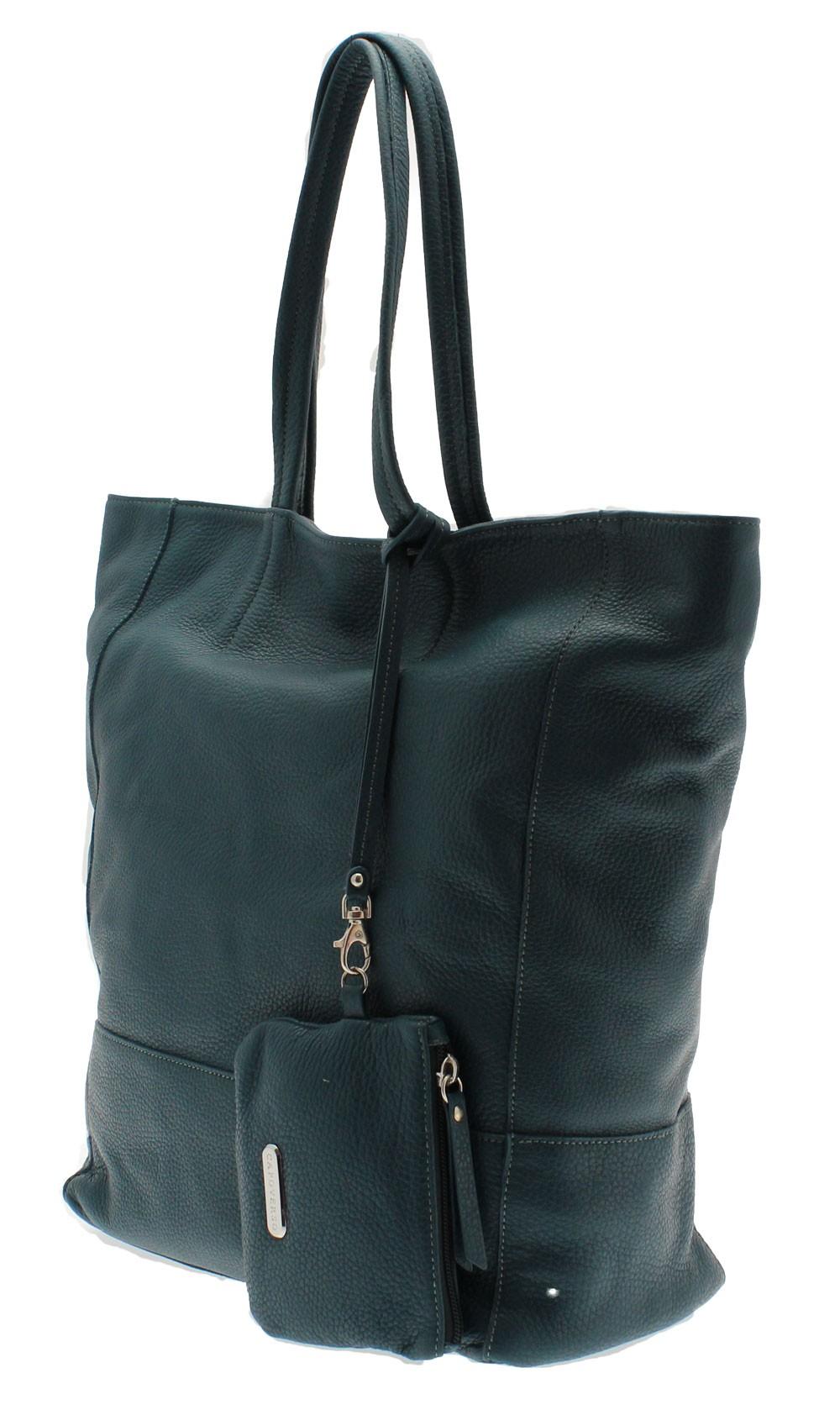 ... CAPOVERSO kabelka z jemné italské kůže modra ... 46ab8d672d0