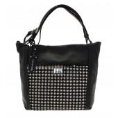 Capoverso Italian Black Leather Italian Houndstooth Handbag