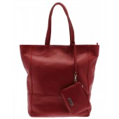 Capoverso Red Leather Tote Bag